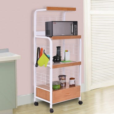 3-Tier Rolling Kitchen Microwave Oven Stand Cart With Electric Outlet