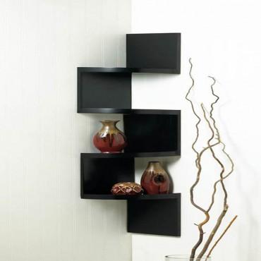 Zig Zag 4 Tier Black Corner Shelf